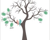 Personalized Poster THUMB PRINT 13x19, Wedding Tree with Love Birds, Personalized with your Names and Wedding Date in your custom colors