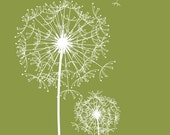 Modern Dandelions print, Custom Modern Flower wall art prints, Olive Green or your custom colors