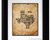 Cities of TEXAS State, Texas Map Cities & Towns - Unique Vintage Style Typography Poster, 11x14