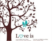 Love is patient bible verse, love birds in the tree, custom wedding anniversary gift, personalized family tree wall art, love quote print
