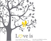 Love birds in a tree custom wedding gift paper anniversary, love bird themed wall art wedding, grey ans yellow decor, Love is