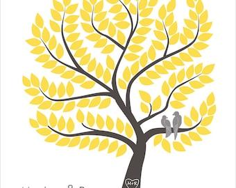 Wedding Tree Guest Book Alternative Unique Wedding Gift Custom Guest Book Original Guest Book Ideas Gray Yellow Wedding Love Birds Wedding