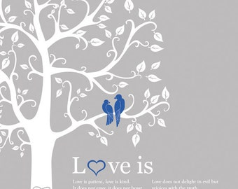 Paper annivesary custom gift with love birds love is print personalized wedding gift engagement wedding tree poster love bird themed art