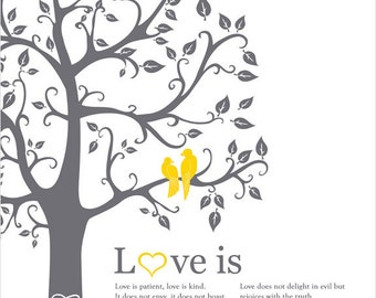 Love birds in a tree custom wedding gift paper anniversary, love bird themed wall art wedding, grey ans yellow decor, Love is