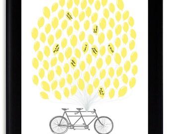 Unique Guest Book Alternative Modern Wedding Guest Book Alternative Tandem Bicycle with balloons Grey Yellow Gray Wedding Custom Wedding Art