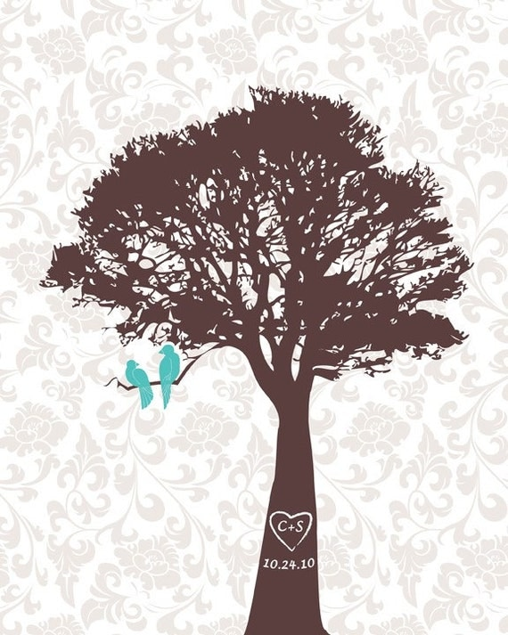 Personalized Wedding Gift, Wedding Gift, Love Birds in a tree print, Personalized anniversary gift, date and colors, size 11x14