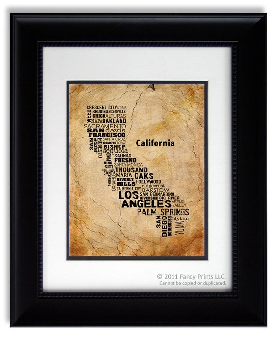 Cities of CALIFORNIA State, California Map Cities & Towns - Unique Vintage Style Typography Poster, 11x14