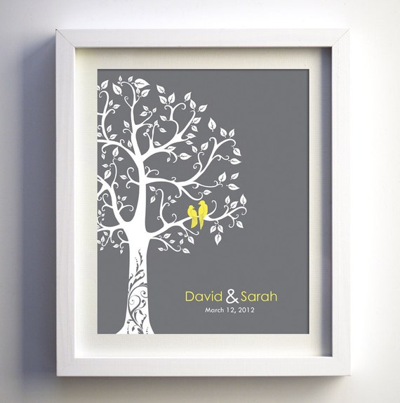 Love birds in a tree grey and yellow wall art, wedding anniversary gift, wedding tree, paer anniversary, romantic gift, christmas gift wife