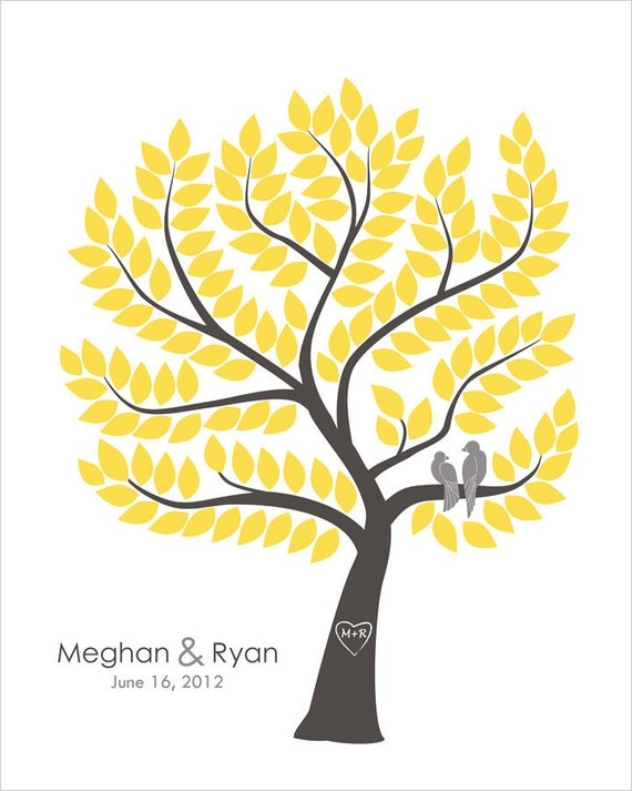 Wedding Tree Guest Book Alternative Unique Wedding Gift Custom Guest Book Original Guest Book Ideas Gray Yellow Wedding Love Birds Wedding