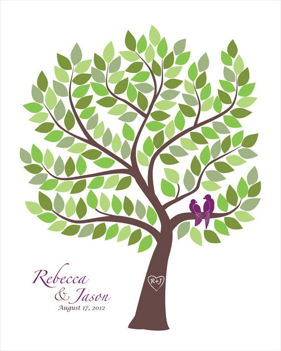 Custom Guest Book Wedding Gift Guest Book Alternative Engagement Gift Guestbook Alternative Wedding Anniversary Guestbook Tree Love Birds