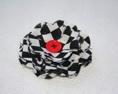 Fabric Flower Pin- Black and White Checks, red button