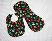 Baby Bib/Burp Cloth Set- Silly Monsters