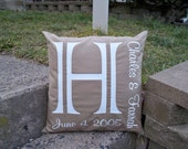 Pillow, Monogram Pillow, Monogrammed gift, wedding pillow, personalized pillow, family name sign, monogram wedding gift (includes insert)