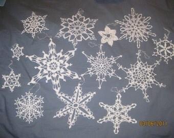 13 Handmade Snowflakes Lot 3 Crocheted White