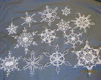 13 handmade Crocheted Snowflakes Lot 4 - Christmas NEW
