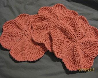 Handmade Knitted Dishcloths - Set of 3  Round