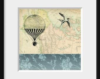 DIGITAL COLLAGE print 5x5, vintage map, hot air balloon, vintage line illustrations, nostalgic - Life's Journey1