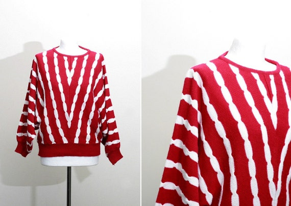 Free Shipping. Striped batwing sweater in red and white, large-xl