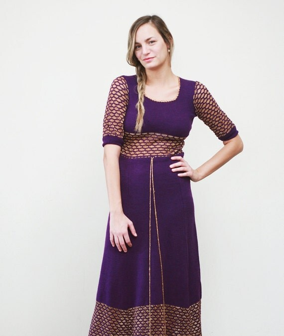 Free Shipping. 1960s vintage bohemian princess purple gold knit maxi dress (xs-small)