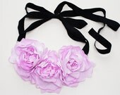 Flower bib necklace jewelry - Light violet purple pink