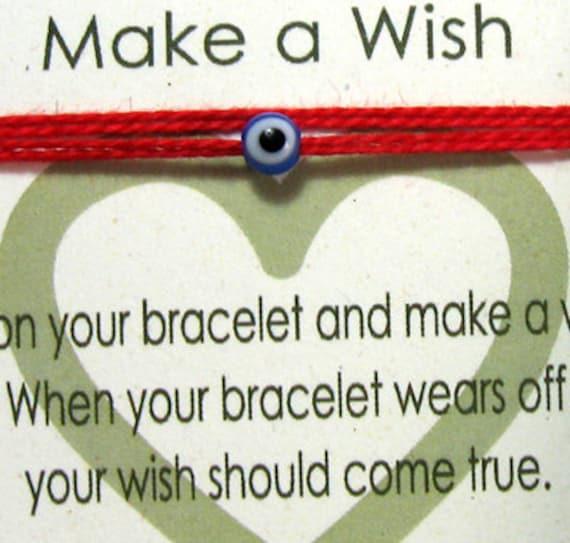 Red String Kabbalah Bracelet Wrap Around Make A Wish Bracelet Tiny Blue Evil Eye Bracelet Lucky Protection Charm on Red Wrap Around Thread