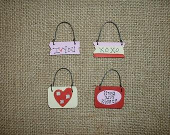 Mini ornaments - Valentines day - I love you