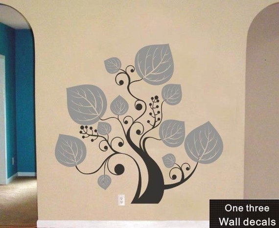 one three Wall Decals Stickers Vinyl big tree7