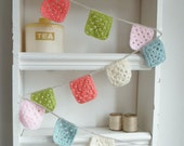 Crochet Garland - Banner - Bunting  granny squares in Baby Pink - Olive -  Peachy Pink and Duck Egg