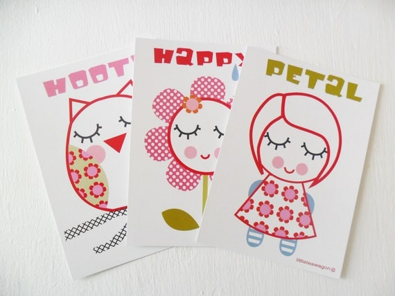 Girls Postcard Set - Girl - Owl - Art Cards