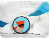 fox brooch / fox pin / turqouise & orange pin