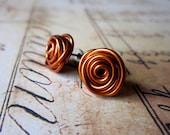 Stud Post Earrings. Nickel Free. Amber, Copper, Rust. Wire Wrapped. Quantum Rosette. Inspired by Physics, Science. Wire Rose.