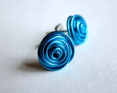 Post Stud Earrings. Nickel Free. Peacock Blue. Wire Wrapped. Quantum Rosette. Inspired by Physics, Science. Wire Rose.