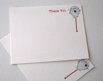 Goalie Stick Lacrosse Thank You Note Cards Coach Player Cards Goalie Coach Thank You Card Set
