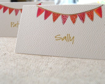 Red Banner Tented Name Place Cards  10 Personalized Cards or 12 Blank Party Children Baptism illustrated