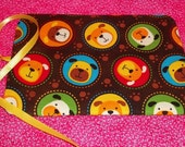Handmade Double Crayon Wrap holds 15 Crayons - Colorful dogs