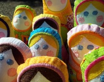 Handmade Babushka Matryoshka doll - Flower Power, Child friendly