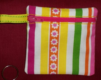 Handmade - Colorful Retro zippered Pouch  - Keychain Wallet Coin Gift Card Holder - free shipping