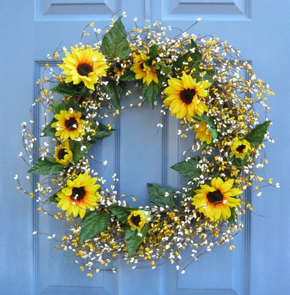 Spring Front Door Wreath or Centerpiece Sunflower & Pip Berry SALE WAS 54.99 Floral Summer