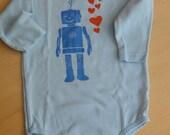 Robot onesie, blue on blue with orange hearts