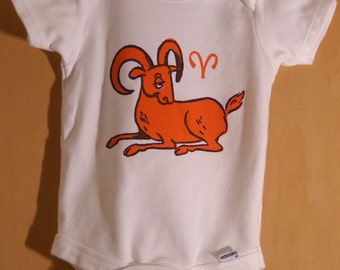 Aries onesie orange on white