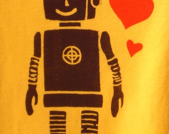 Robot with hearts on yellow onesie