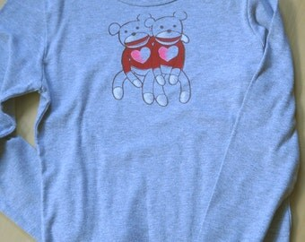Sock Monkeys in brown and red on gray long sleeve T