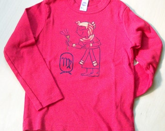 Red shirt with Virgo print