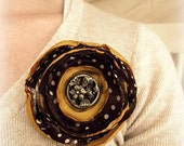 Silk Flower Pin Brooch- Brown and Cream Polka Dots with Golden Yellow