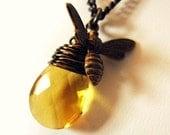 Luminous Honey Drop Bee Necklace