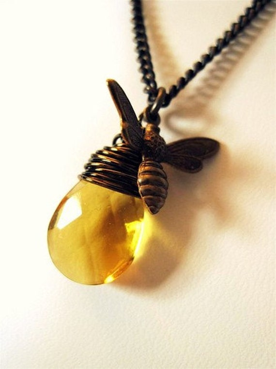 Reserved for jandipan- Luminous Honey Drop Bee Necklace