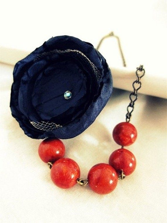 Beaded Flower Necklace- Red Coral with Navy Bloom- last one