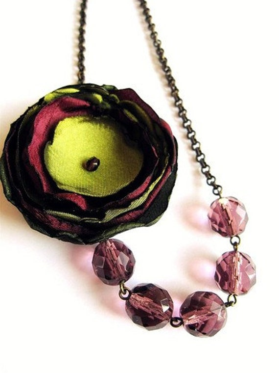 Amethyst and Olive Green Beaded Flower Necklace- Sale
