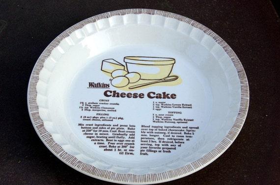 Watkins Cheese Cake Recipe Pie Plate