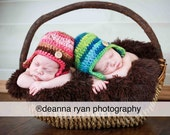 Twin Set Earflap Hat in Shades of Green/Blue  and Shades of Pink/Brown, Photography Prop, Also Sold Separately